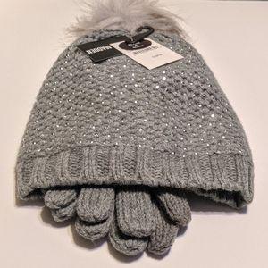 NWT Steve Madden Gray Shiny Beanie and Gloves